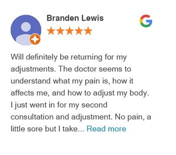 Branden Lewis Google review for Trinity Mills Chiropractic