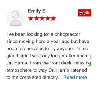 Emily B yelp review for Trinitiy Mills Chiropractic