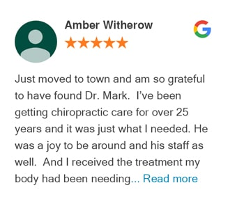 Amber Witherow google review for Trinity Mills Chiropractic