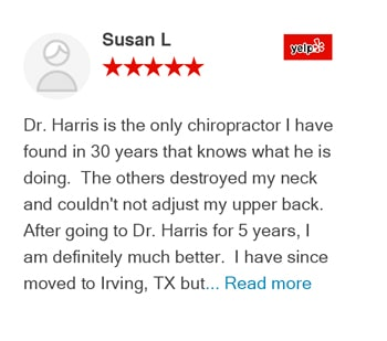 Susan L yelp review for Trinitiy Mills Chiropractic