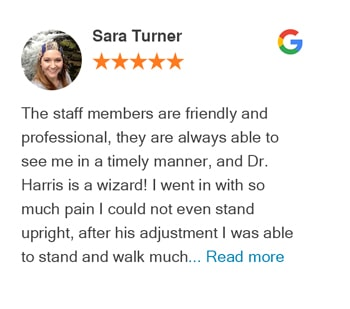 Sara Turner google review for Trinity Mills Chiropractic