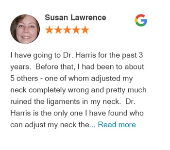 Susan Lawrence google review for Trinity Mills Chiropractic
