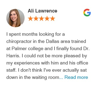 Ali Lawrence google review for Trinity Mills Chiropractic
