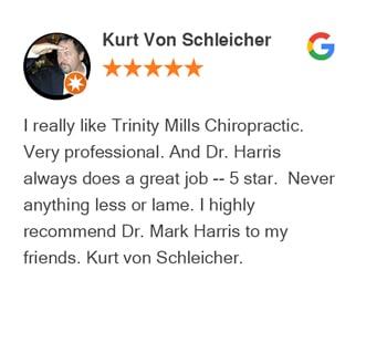 Kurt Von google review for Trinity Mills Chiropractic